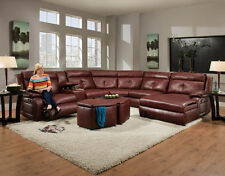 American Made Dawn Reclining Sectional Sofa - Bonded Leather or Microfiber