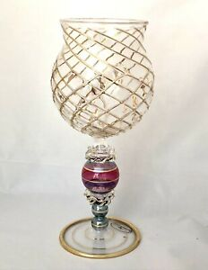 Rare MACKENZIE CHILDS Aerial Wine Glass, Mouth-blown Hand-painted Goblet RETIRED