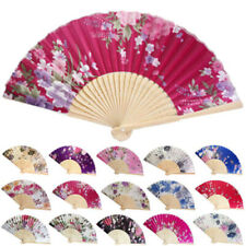 Vintage Bamboo Folding Hand Held Flower Fan Chinese Dance Party Pocket Welcome