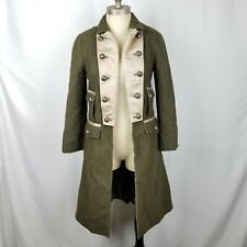 Pinko Military Trench Coat Jacket Green Wool Blend Women's Size 6 US
