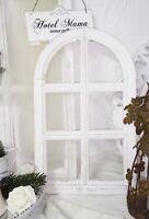 Fenster Deko Fensterrahmen Rundbogenfenster Brocante Holz Weiß Shabby CHIC 49cm