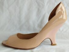 Rebeca Sanver Womens Ladies Nude Patent Leather Wedge Court Shoes Size 4.5 New