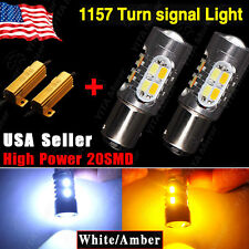 2x 1157 Dual Color Switchback White Amber LED Turn Signal Light Bulbs+Resistors
