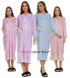 Womens Night Gown Nightie 100% Soft Cotton Plus Size Long Sleeve PJ Nightie 8-16
