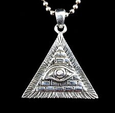 Handcrafted Solid 925 Sterling Silver Illuminati Eye of Providence Pendant