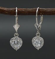 14K Solid White Gold Round Created Diamond Halo Heart Leverback Earrings