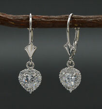 JM202 14K Solid White Gold Round Created Diamond Halo Heart Leverback Earrings