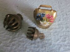 "3 Pc Vintage Etched Elephant Brass Claw Bottom Bell 2.5"" h 1.5"" Floral Hand Pain"