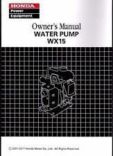 PRINTED 2001-2011 HONDA WATER PUMP WX15X OWNERS MANUAL (206)