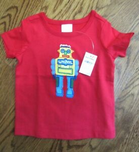 NWT HANNA ANDERSSON Boy 18 24 Tee Shirt Top Red Multi Color Robot