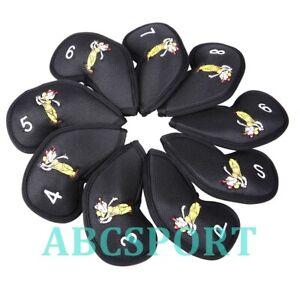 9pcs/set Meshy Golf Iron Club Head Covers 3,4,5,6,7,8,9,P,S Fit R/H