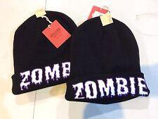 "Beanie Hat-Black-""Zombie"" OSFM Heavy Duty Lot Of 2 Glows In The Dark Unisex"