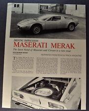 1978 Maserati Merak SS Sales Brochure Folder Excellent Original 78