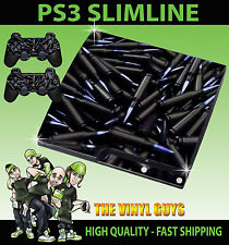PLAYSTATION PS3 SLIM BLACK BULLETS SHELLS AMMO STICKER SKIN & 2 PAD SKINS