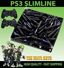 PLAYSTATION PS3 SLIM balas de piel adhesiva conchas AMMO Negro y 2 pieles Pad
