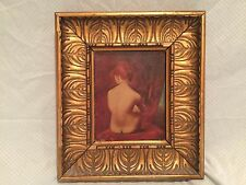 Antique Turkish Portrait of a Nude Lady / Woman Oil on Canvas Painting