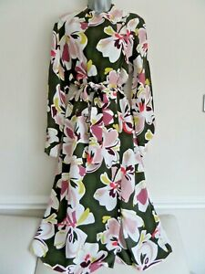 M&S AUTOGRAPH FABULOUS OLIVE GREEN PINK WHITE FLORAL MIDI SHIRT STYLE DRESS 12