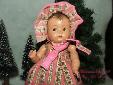 ANTIQUE SIGNED EFFANBEE GIRL ALL COMPOSITION WEARING SUNDRESS 7'' T BONNET DOLL