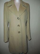 Loro Piana Single Breasted Womens Wool Trench Over Coat Jacket Sz 10 Medium Tan