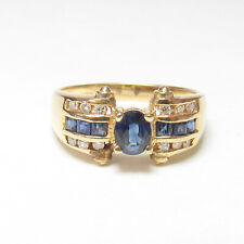 Estate 18K Yellow Gold 0.45 Ct Natural Cobalt Blue Sapphire And Diamond Ring