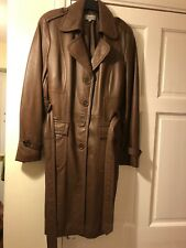 SMASHING LADIES MARKS AND SPENCER MID LENGTH BROWN LEATHER COAT SIZE 18