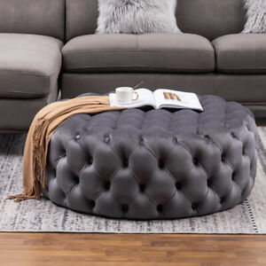Large Chesterfield Round Coffee Table Plush Velvet Tufted Pouffe Stool 100cm