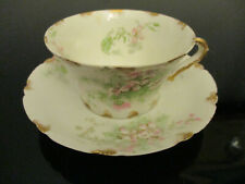Antique Theodore Haviland Limoges French Porcelain Blossom Cup & Saucer C&S!