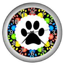 PAW PRINTS PAW PRINT BORDER BEDROOM KITCHEN WALL CLOCK *GREAT FOR ANIMAL LOVERS*