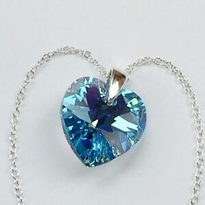 925 Silver Necklace Pendant Heart Aquamarine AB Made With Swarovski® Crystals
