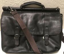 "Solo Premium Leather 16"" Laptop Briefcase Messenger Bag Dark Brown"