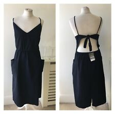 Dorothy Perkins Navy Blue Denim Cut Out Midi Dress Sz 16 RRP £35