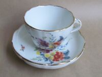DRESDEN PORCELAIN HAND PAINTED FLOWERS CUP & SAUCER TWIG HANDLE (Ref4016)