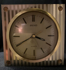 """SEIKO Gold Square Clock 4x4""""  No Back But works Perfectly!   NICE!!"""