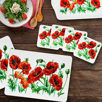 Poppy Flower Tableware Dinner Set Placemat Coasters Drink Mats Food Serving Tray