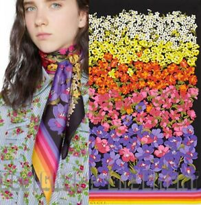 GUCCI black Colorful floral DEGRADE Logo silk twill scarf NWT Authentic $495!