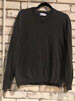 J Crew Cashmere Cotton Brown Gray V Neck Long Sleeve Sweater Mens's Medium