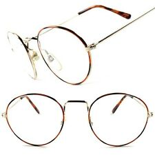 Classic Vintage Retro Hippie Hipster Mens Womens Wire Frame Clear Lens Glasses
