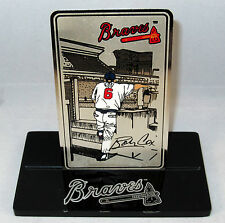 Bobby Cox Metal Card w Display Stand Managerial Record RARE Braves Collectible
