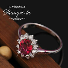 0628 18K WHITE GOLD GF Womens PINK SAPPHIRE RING Made With SWAROVSKI DIAMOND