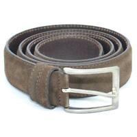 Cintura uomo cintura regolabile pellame scamosciato marrone tinta unita con fibb