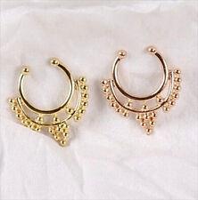 Fake Nose Septum Non Piercing Hanger Tribal Rose Gold Or Gold Clip On 1-2 Pcs S3