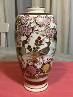 Antique Japanese Crackle  Vase Peacocks And Floral Handmade Hand-painted Rare