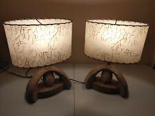 Pair of Vintage Chalkware Lamp Mid Century Ceramic Retro 50's