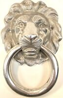 "Vintage Large Cast Polished Aluminum Door Knocker Lion Head 6"" x 9.5"" Very Nice!"