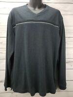 Van Heusen Men's Size Large Gray Long Sleeve V-neck Shirt