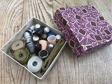 Vintage Box Of Metal Plastic Thimbles + Tape Measures Dean, Lyons Tea