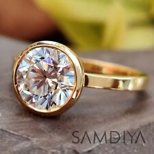 Engagement ring 8 mm Round Cut Colorless Moissanite Ring 14k Yellow Gold Ring