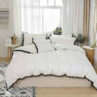 5 PC Set Fringe Duvet Cover Quilt Cover UO Bedding Set with Pillowcase All Sizes