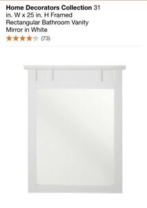 Home Decorators 31 x 25 in. Framed Rectangular Bathroom Vanity Mirror in White