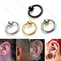 "Pair Unisex Stainless Steel 16G 1/4"" Ear Tragus Helix Hoop Ring Earring New"